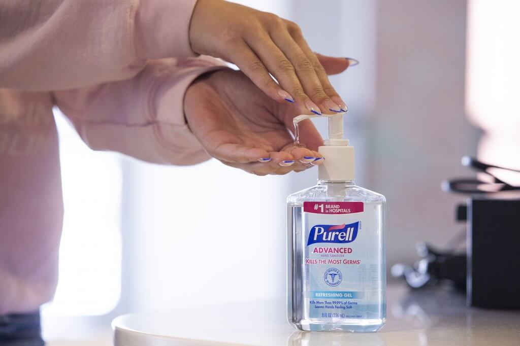 Hand sanitizer on site available in the library for use.