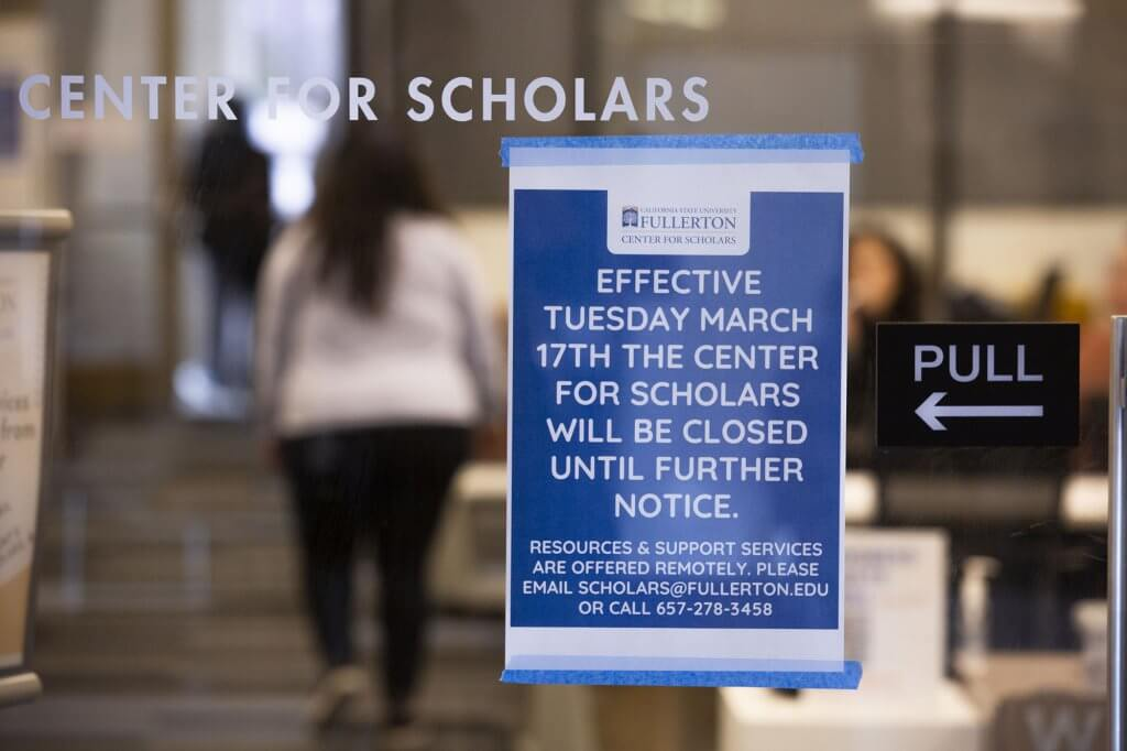 Campus resources centers share closure information.