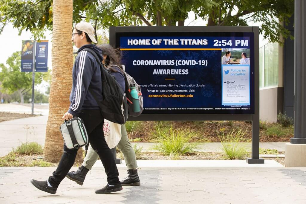 Campus digital signage displays updates on the COVID-19