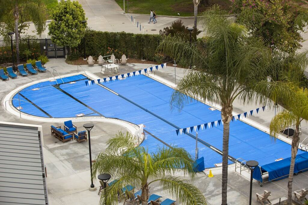 The Student Recreation Center's pool covered in response to the center's closure