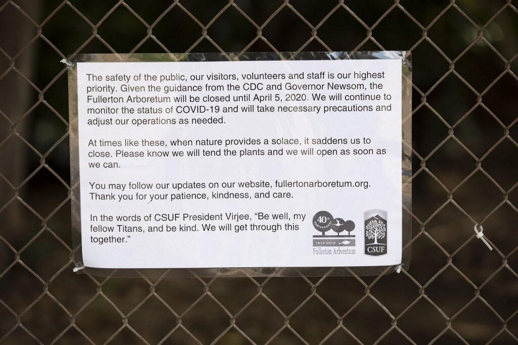 The Fullerton Arboretum closure notice