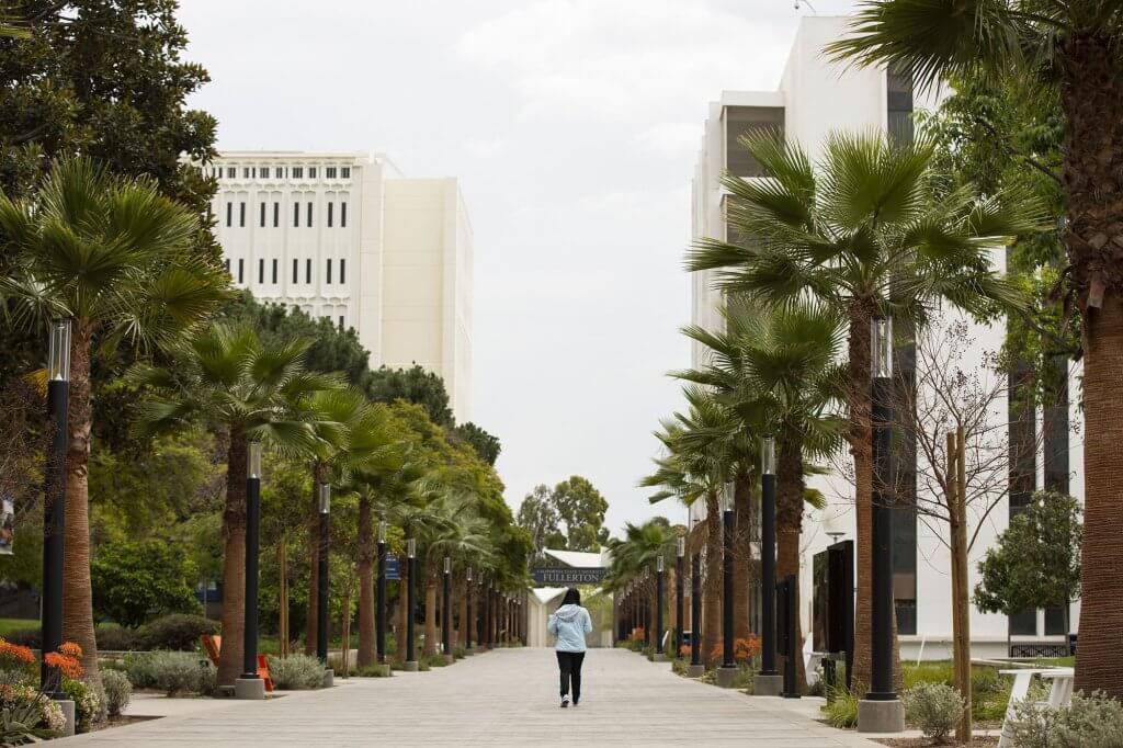 A lone student walks down the promenade
