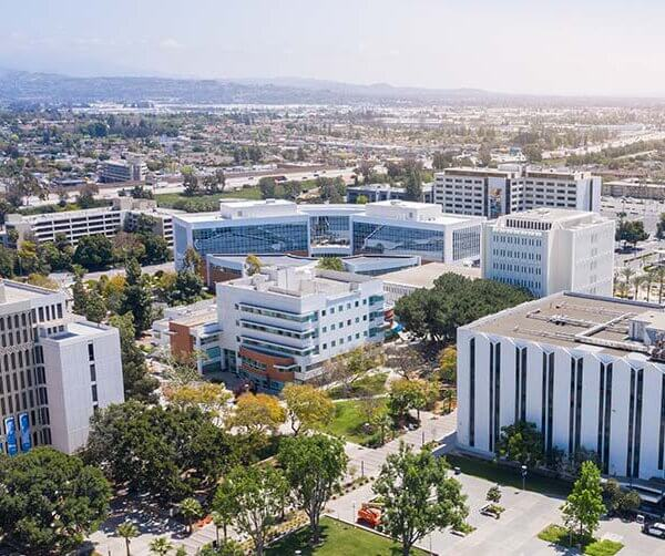 an aerial view of a college campus