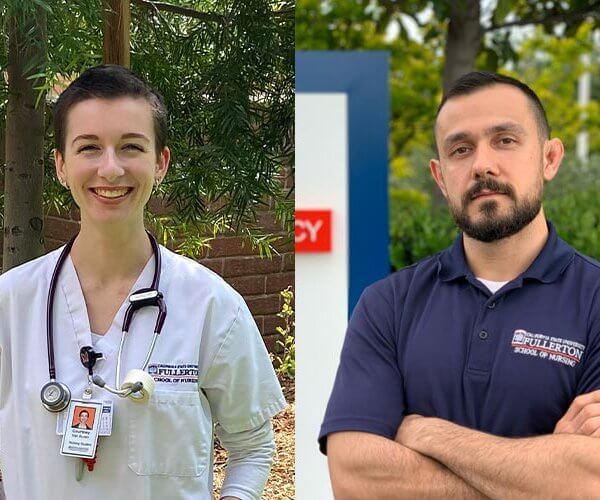 CSUF Nursing Student volunteers Courtney Van Buren and Alexsander Aboutalebi
