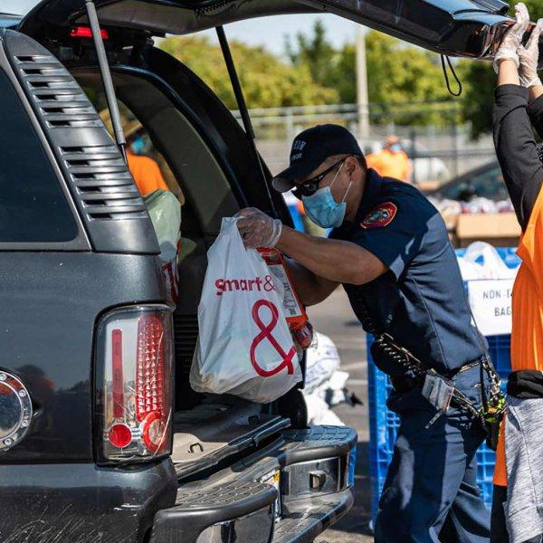 Anaheim food bank pop up food distribution.