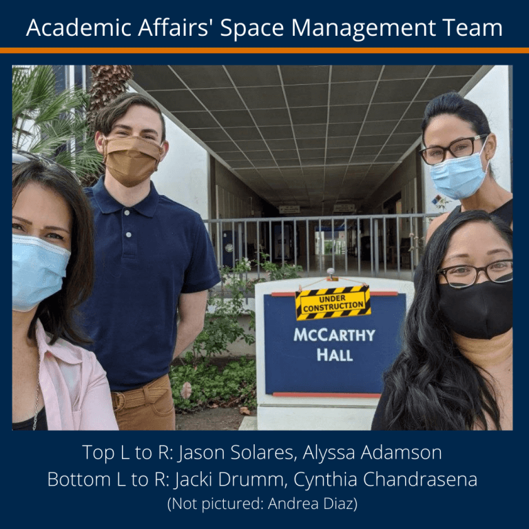 3 women and a man wearing sterile mask in front of a college building